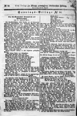 Titelblatt Vossischen Zeitung vom 8. April 1866, Staatsbibliothek Berlin ZEFYS