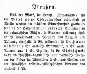 Vorlesungsankuendigunng in der AZ des Judenthums 1862
